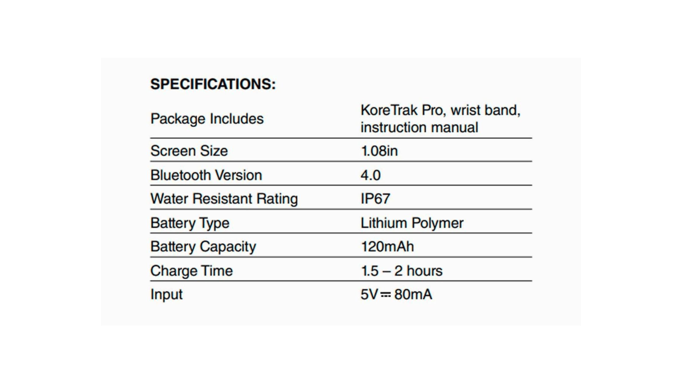 KoreTrak Pro Specifications